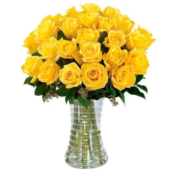 Buquê 24 rosas amarelas no vaso
